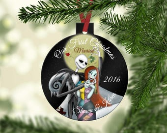 Holiday Ornament, Christmas Ornament, Wedding Ornament, Anniversary Ornament, Personalized, Engagement ornament Nightmare Before Christmas,