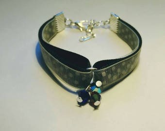 Black Ribbon and organza yellow bracelet