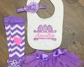 Easter set for baby girl Easter baby girl outfit Personalized easter set Newborn girl easter photos Easter bib set Easter outfit baby girl