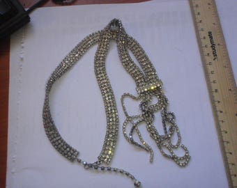 Stunning rhinestone flapper style necklace j hook