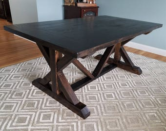 7' Solid Oak Trestle Table, Dark Antique Brown, Solid Wood, Farmhouse Furniture, X Base Dining Table