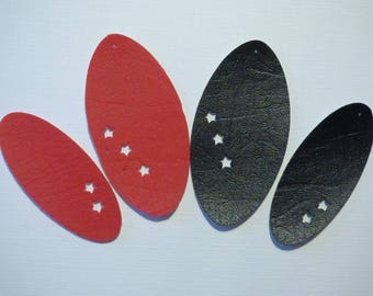 4 FAUX LEATHER OVAL RINGS WITH 2 STARS
