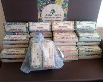 Set of four mini natural soaps