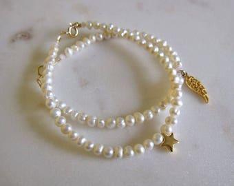Pearl Bracelet, Wing Charm Bracelet, Charm Bracelet, Real Pearl Bracelet, Pearl with Charm Bracelet, Wings
