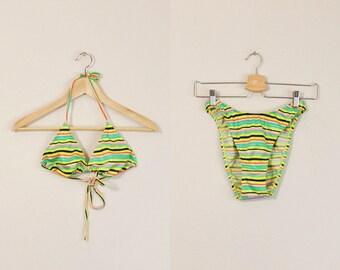 High Cut Bikini, 90s Two Piece, Vintage 90s Swimsuit, 90s Striped Swimsuit, 90s Neon Swimsuit, High Cut Swimsuit, 90s Bathing Suit, Medium