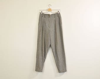 High Waist Trousers, Vintage 90s Trousers, Minimal Tapered Pants, Houndstooth Trousers, Loose Pleated Pants, Casual Women's Pants Size 6