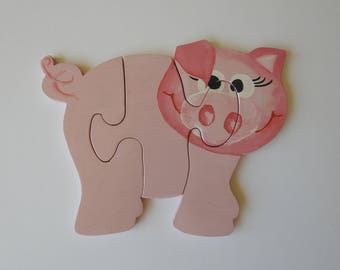 Wooden pig, puzzle, wooden puzzle, educational toy, kids toy