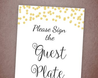 Please Sign the Guest Plate Printable, Wedding Plates Sign, Guestbook Plate Signature, Wedding Signs, Instant Download, A001