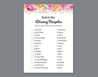Disney Couples Match Game, Famous Couples Match, Vintage Flower, Match The Disney Couples , Flower, Bridal Shower Games, Wedding, A017