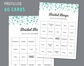 Bridal Shower Bingo, Unique Prefilled 60 Cards Printable, Seafoam Green Confetti, Bridal Shower Games, Bachelorette Bingo, Wedding  A018