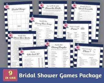Bridal Shower Games Package, Navy Blue White Stripes, Bridal Shower Activities, Kate Spade, Unique Games Pack, Shower Bundle, BSPKG, A019