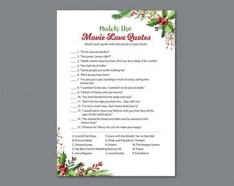 Movie Love Quote Match Game, Winter Match the Romantic Movies Trivia, Movie Love Quote Match, Festival Christmas, Bridal Shower Games, A025
