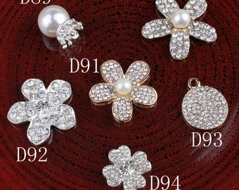 Hot Fix Vintage Metal Flower/leaf/round Crystal Pearl Buttons Alloy Flatback Rhinestone Buttons for Hair Accessories