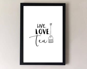 Tea prints, tea poster, tea art, tea wall art, kitchen print, kitchen wall decor, kitchen art, cafe print, cafe art, tea mug, kitchen signs