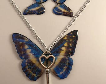 Pendant , butterfly resin , butterfly necklace and earrings