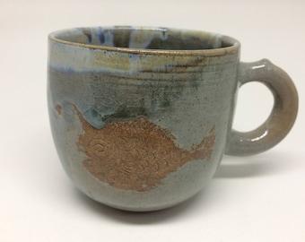 Lantern fish,ocean color,unique,handmade ceramic mug,pottery mug, coffee or tea mug, handmade gift, kitchen, dining