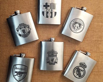 Football UEFA Clubs Flask// Gift for Him // Funny Flask // Hip Flask for Men // 21st Birthday Gift // 7 oz