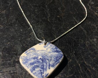 Large sea ceramic pendant necklace