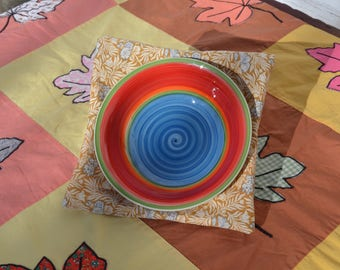 Bowl Lifters (set of two) - Keep Those Hands From Getting Burnt by Microwaved Food! Blue/tan swirls
