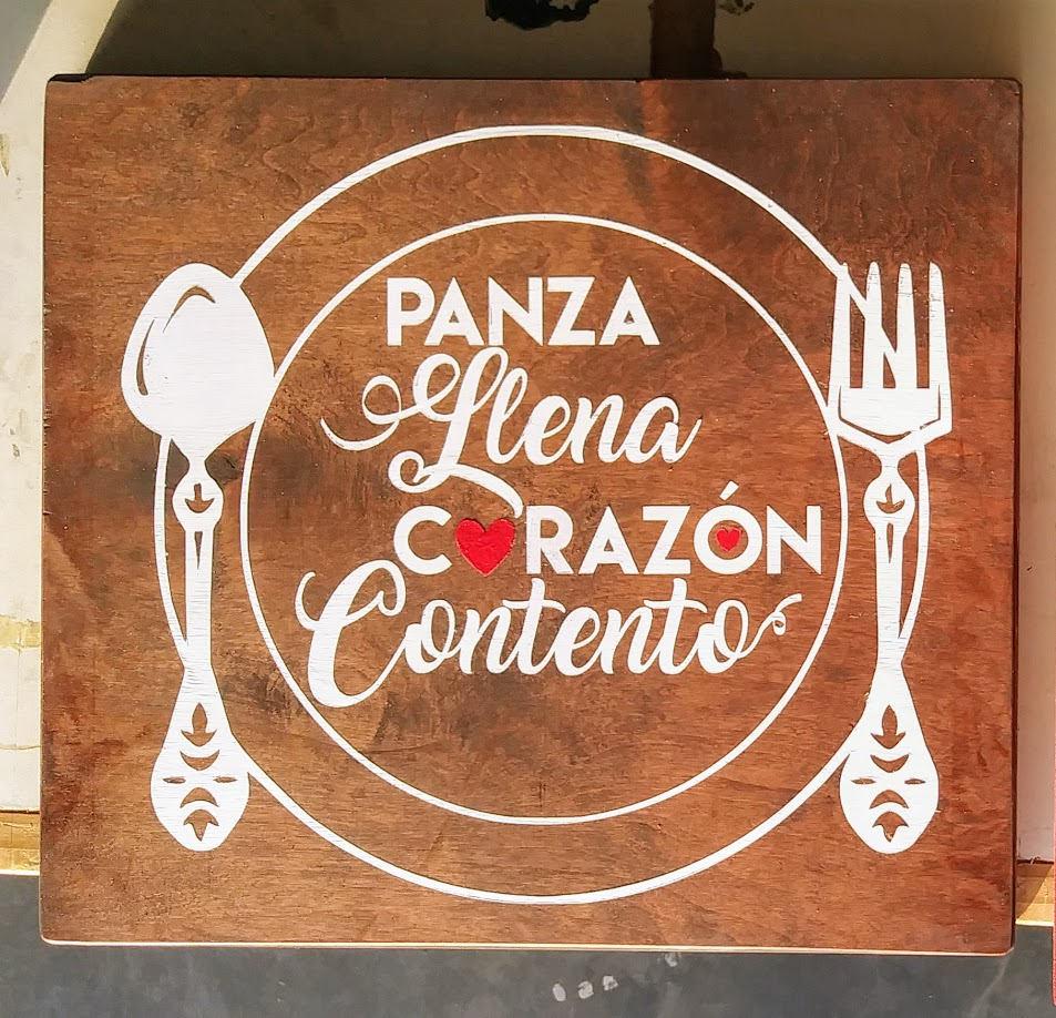 Kitchen Signs In Spanish: Spanish Kitchen Wood Sign Cocina Panza Llena Corazon
