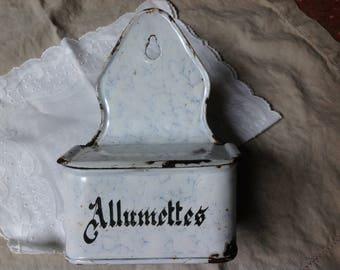 Antique French Enamelware Match Holder