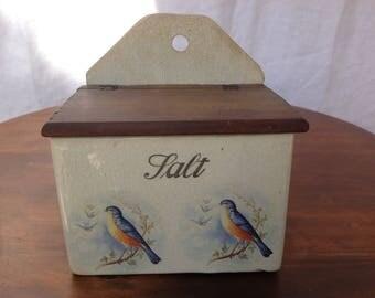 Vintage Porcelain Salt Box With Birds