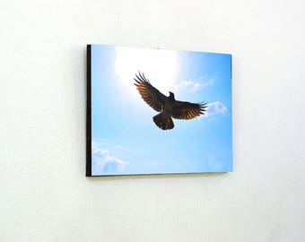 Flying Spread Wings crow Wall wooden photo