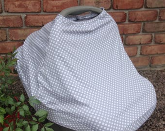 Gray polka dot car seat/ nursing cover