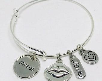 Sweet- Silver adjustable charm bracelet