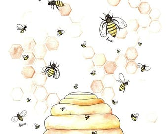 Bee Hive Art, Bee Hive Nursery Art, Digital Download, Digital Art Print, Instant Download, Bee Nursery, Save the Bees, Bee Hive Nursery