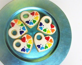 Paint Tray Cookies - Heart Paint - Set of 12 - rainbow paint