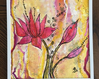 Desert lillies 8x8 original - mixed media painting