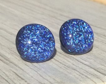 Dichroic Fused Glass Stud Earrings - Large Cobalt Blue Crinklized Dichroic with Solid Sterling Silver Posts