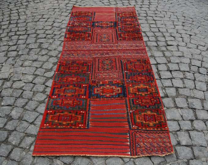 "Runner Rug, Hallway Rug, Oushak Runner Rug, Area Rug, Entryway Rug, Vintage Rug, Turkish Rug, Oriental Knotted Rug ! Feet : 3' x 8'14""."