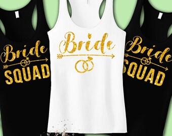 Bride Squad Bachelorette Party Tank Tops Bridesmaid Shirts Bride Bridal Shower Gift Bride Squad Tanks Bridesmaid Shirt