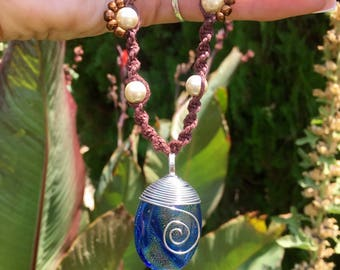 Moana inspired dark brown hemp  necklace with glass pearl and brown wooden beads and blue/heart of tefiti wire wrapped glass pendant cosplay