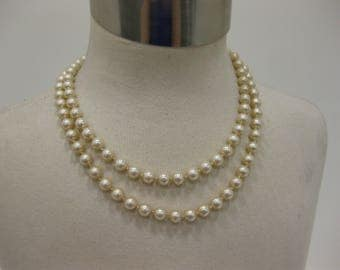 """Vintage 34"""" Long Signed Marvella Single-Strand Off-White Faux Pearl Necklace"""