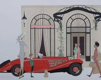 Denis-Paul Walnut: Roadster Mercedes 540K & Plaza Athenee - LITHOGRAPH #115EX