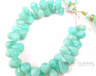 Very Beautiful Natural Amazonite Faceted Teardrop Briolette Beads - 6X9mm- 7x10mm 4 Inch Long Lot of GORGEOUS