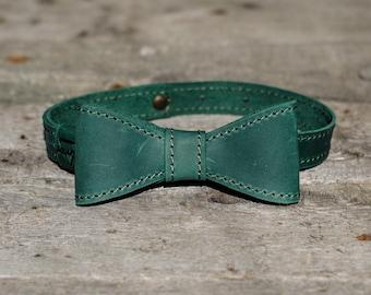 Personalized Leather Bow tie Green mens bow tie wedding bow tie Mens Gift groomsmen bow tie monogram bowtie Neck-Tie