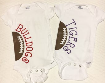 Sports Onesie, Bulldogs onesie, Tigers onesie, bulldogs shirt, tigers shirt, college football, football, sports, sec, lsu, georgia