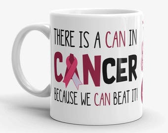 Personalized Head Neck Throat Cancer Coffee Cup Novelty Beat It Burgundy Ivory Ribbon Custom Mug Gift Survivor Support 11 & 15 ounce