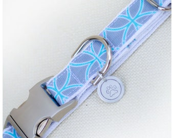 Blue Gray Lattice Dog Collar