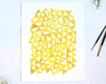 Yellow Geo Print - Geometric Watercolor, 11x14