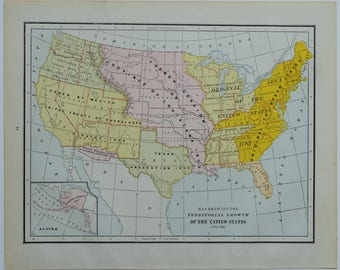 Items Similar To Antique Civil War Map United States - 1888 us map