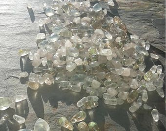Mixed lot of Quartz, Rose, Ice, Crystal and Rutilated drop briolette shape beads. 95g / 480ct of mixed Quartz beads. Beautiful mixed lot.