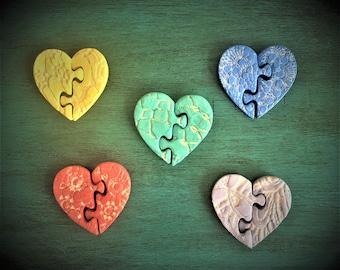 Ceramic Puzzle Heart Magnet