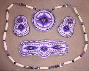 Purple Tribal Medallion, earrings and hairbow set