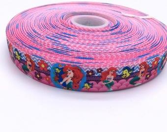 "Little Mermaid Ariel 1"" 25mm Grosgrain Ribbon per  Meter"
