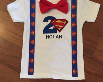 Superman 2nd birthday, Boys birthday outfit, Baby boy first birthday, superman party, Baby boy second birthday, superman tshirt